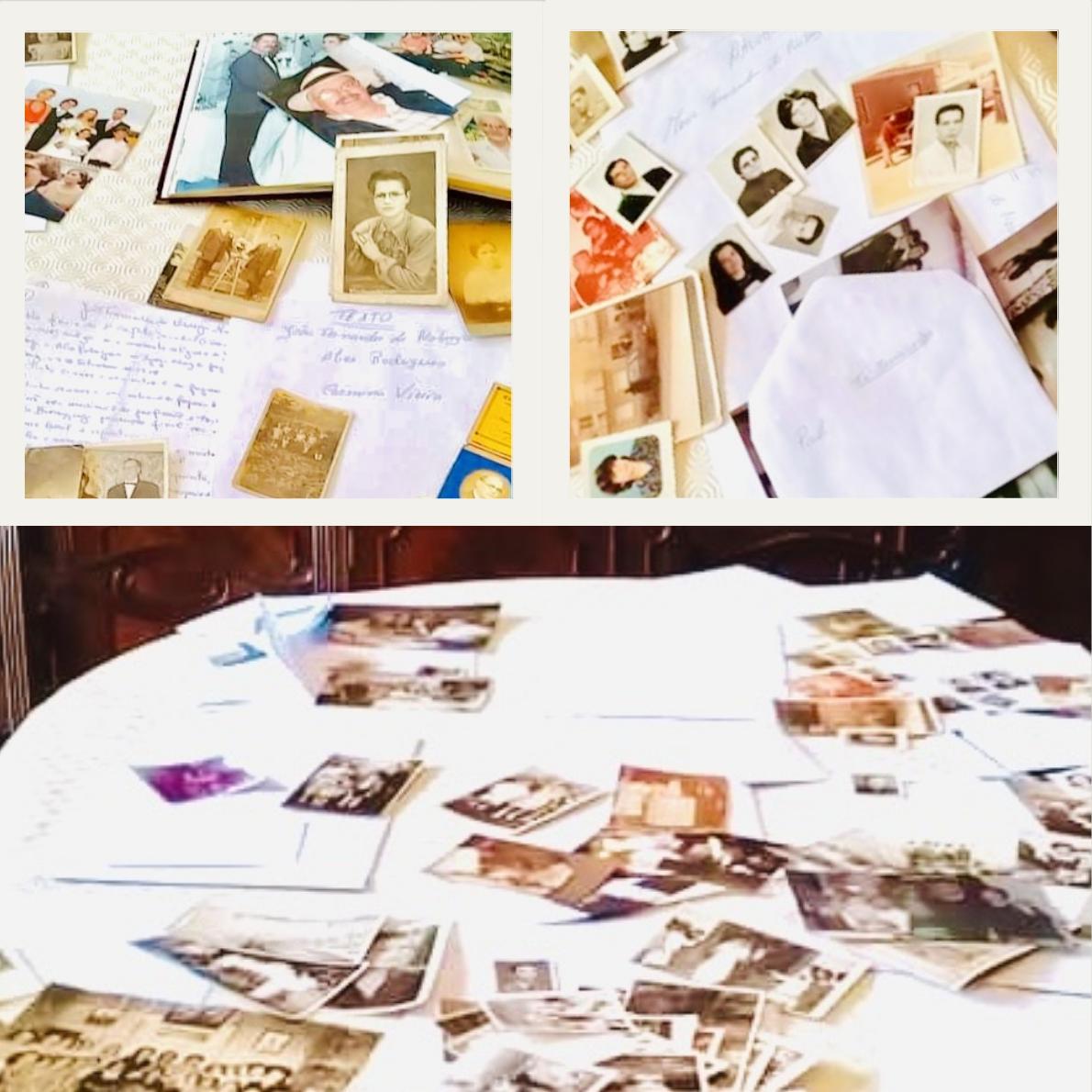 Beige Polaroid Family Photo Collage Square Pillow